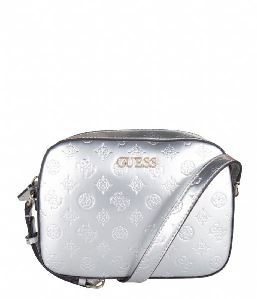 Kamryn Crossbody Top Zip silver Guess | The Little Green Bag